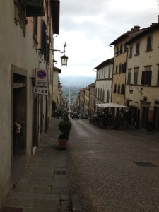 The road to Sansepolcro from the top of Anghiari