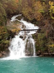 Waterfall into the lake