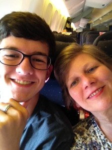 Hunter and Gran on the plane