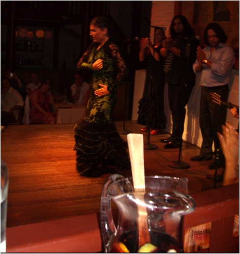Photo of my Sangria pitcher while watching traditional dancers in Barcelona