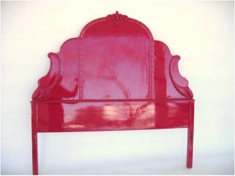 Rasberry high-lacquer headboard from fabulous finds on Etsy