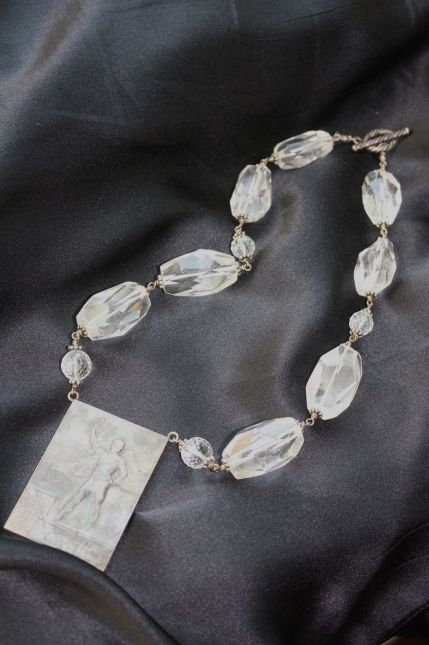 Meredith Haws Antique French Medallion With Sterling Silver Wire Wrapped 16″ Necklace Of Crystal Quartz And Labradorite.