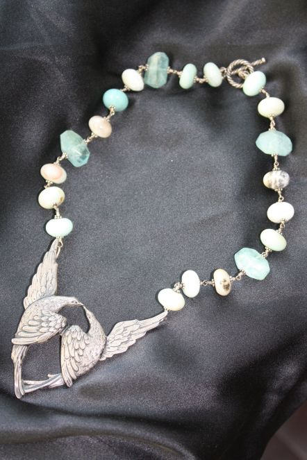 Meredith Haws Aquamarine and Peruvian Opal Bird Necklace
