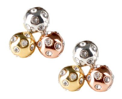 Tri-color Crystal Cluster Studs by Chelsea Charles