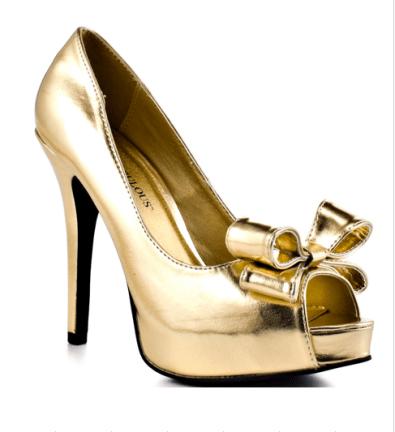 Feminine metallic heels with a Valentino feel