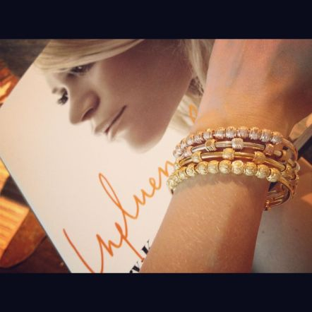 Wearing a stack of bracelets in gold, rose and tri-color while indulging in my latest coffee table read, Influence by Ashley and Mary-Kate Olson