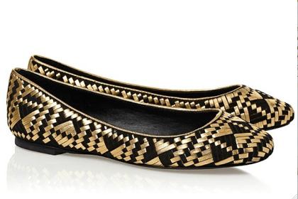 Rebecca Minkoff Uma flats with fresh black and gold pattern