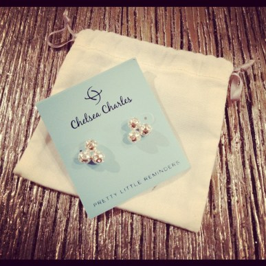 Sterling crystal cluster studs by Chelsea Charles.