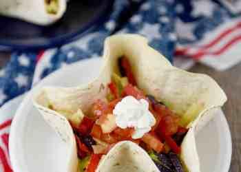 Patriotic Taco Salad Bowls (4th of July Party Recipe)