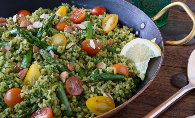 Almond and Parsley Pesto with Asparagus and Freekeh