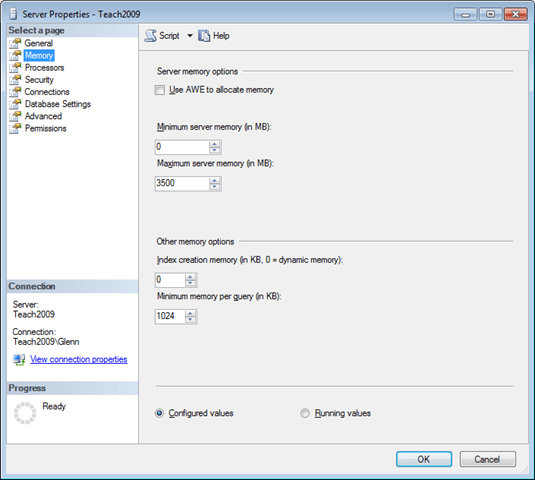 Suggested Max Memory Settings for SQL Server 2005/2008