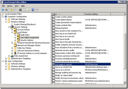 SQL Server and the &ldquo;Lock pages in memory&rdquo; Right in Windows Server