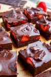 Brownies with Chocolate Covered Strawberries on Top!