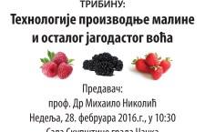 """Најава трибине """"Технологије производње малине и осталог јагодичастог воћа"""""""