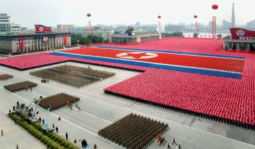 "--- EDITORS NOTE -- RESTRICTED TO EDITORIAL USE - MANDATORY CREDIT  "" AFP PHOTO / HO / KCNA via KNS ""  -  NO MARKETING NO ADVERTISING CAMPAIGNS   -   DISTRIBUTED AS A SERVICE TO CLIENTS  This picture released by North Korea's official Korean Central News Agency on September 10, 2011 via the Tokyo-based Korean News Service (KNS) shows a military parade to celebrate the 63rd founding anniversary of the Democratic People's Republic of Korea in Pyongyang on September 9, 2011.  North Korean leader Kim Jong-Il and his son on September 9 reviewed a parade of military hardware and thousands of goose-stepping troops, in what analysts saw as a bid to bolster loyalty to the regime.   AFP PHOTO / HO / KCNA via KNS"