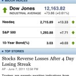Screenshot of Yahoo! Finance iPhone application