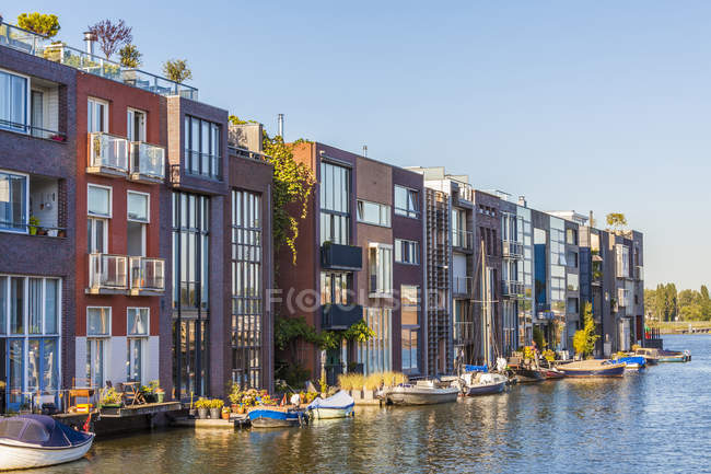 Netherlands  Amsterdam  Borneo Island  modern terraced houses at     Netherlands  Amsterdam  Borneo Island  modern terraced houses at  Scheepstimmermanstraat     Stock Photo