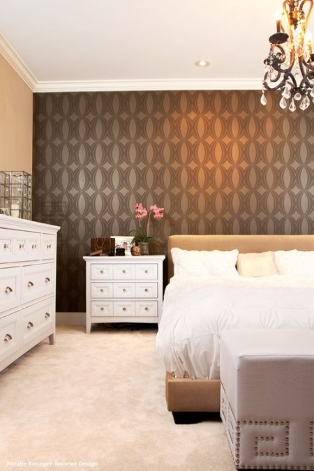 geometric wallpaper, wallpapered accent wall, wallpaper in bed room
