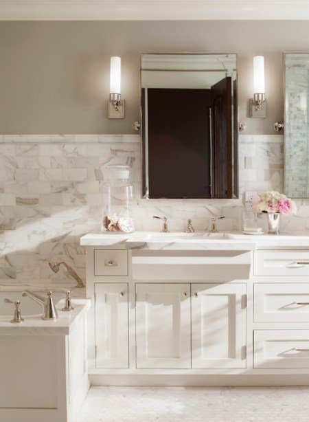 Calacatta Borghini Marble, Traditional neutral bath, transitional bath, Benjamin Moore Revere Pewter
