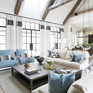 75 Transitional Living Room Design Ideas   Remodeling Pictures That     Example of a transitional open concept light wood floor living room design  in Nashville with white