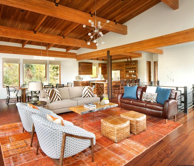 Modern Ski Chalet rustic-living-room