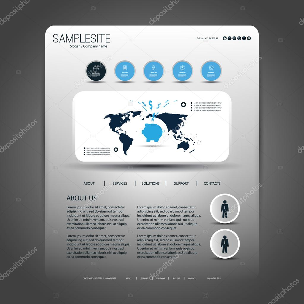 One Page Website Design Template for Your Business with World Map     One Page Website Design Template for Your Business with World Map Header  Concept     Stock Vector