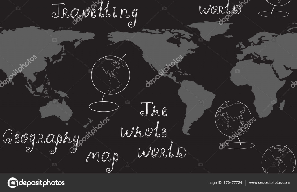 Geography vector seamless pattern with map  globes and handwritten     Geography vector seamless pattern with map  globes and handwritten words   Elements of this image