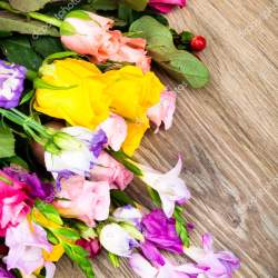 Photo of Mixed Beautiful Flowers on Wooden Background Stock Photo