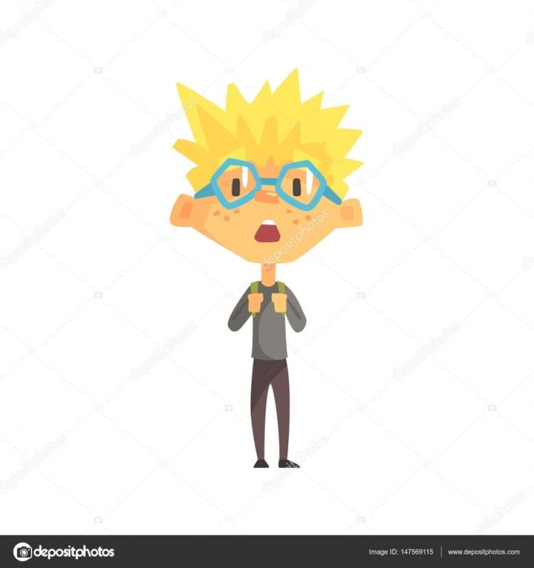 Blond Boy With Spiky Hair And Gl Surprised Primary School Kid Elementary Class Member Isolated Young Student Character Scholar On