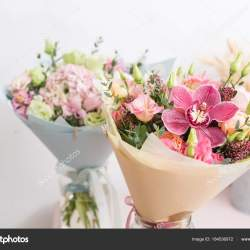 Flower Shop Concept Close Up Beautiful Lovely Bouquet of Mixed