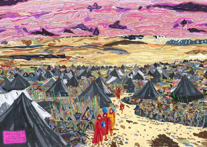 Painting of a Palestinian refugee camp at Nahr al-Barid in northern Lebanon, winter 1948 / By Anis Hamedeh - 2008