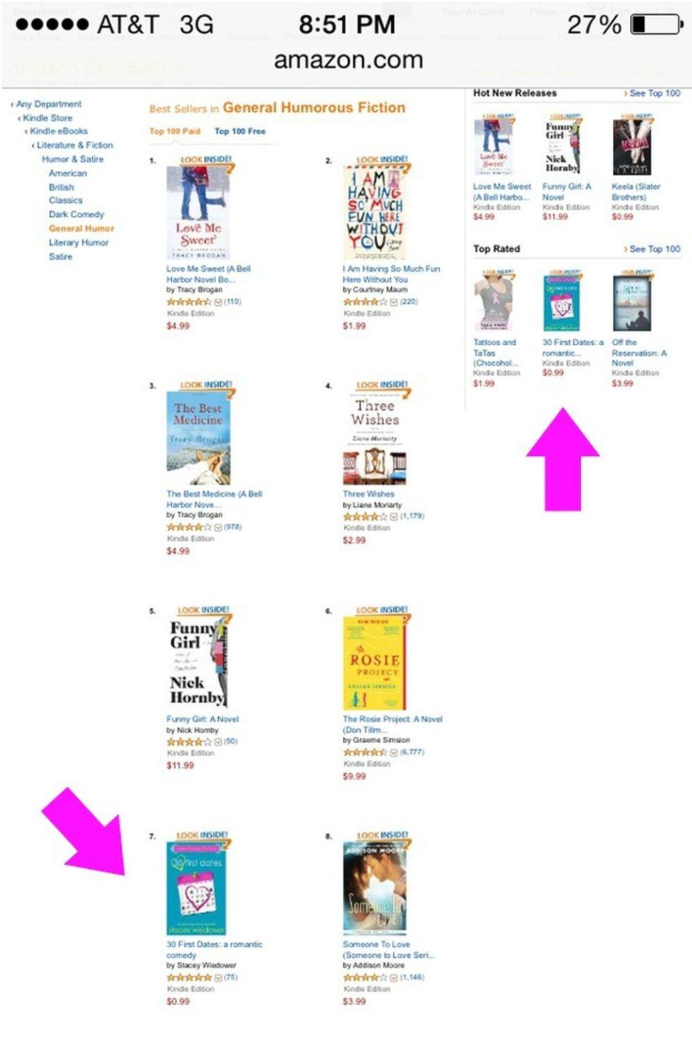 Amazon bestseller list, 30 First Dates