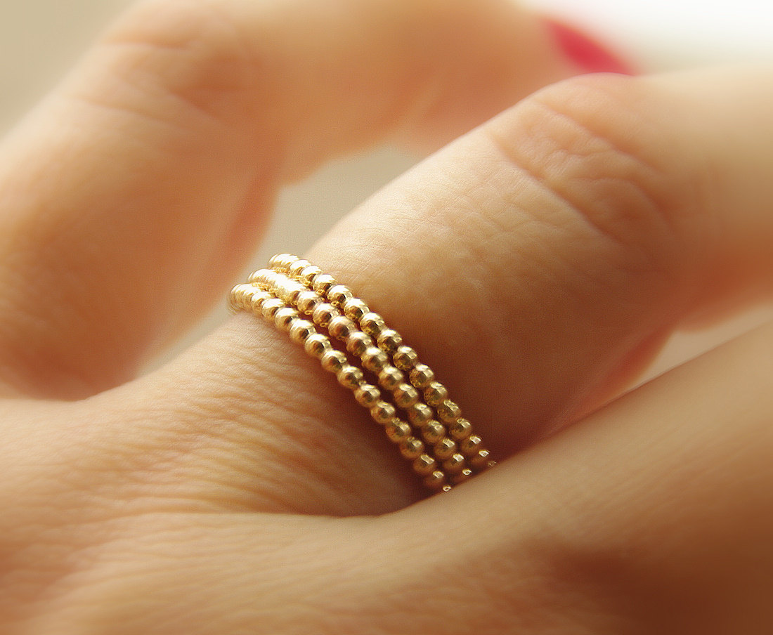 handmade wedding rings stackable wedding bands set of 3 three 14k GOLD FILLED beaded stacking rings