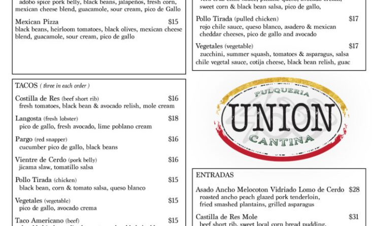 UNION Dinner Menu - Detailed Draft copy