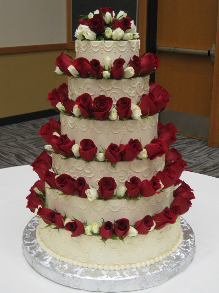 Wedding Cake White With Red Roses. .Birthday Cake Images Edit Name