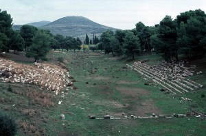 Idag finns bara ruinerna kvar från de grekiska poliserna.  Här ser du riunerna från en arena för atletiska sporter i den grekiska polisen Epidauros. (Foto: John Hansen)