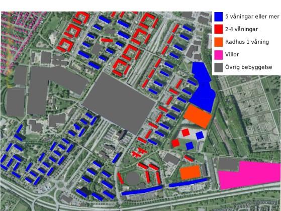 Rosengård karta - Olika sorters bebyggelsetyp (bostäder)