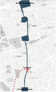 Triangeltorgets placering i förhållande till Malmö centralstation och  Triangelstationen.