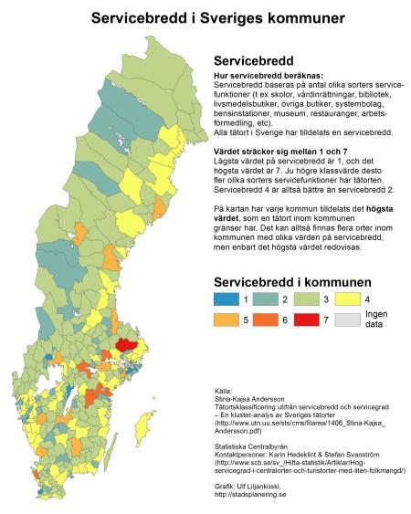 Högst servicebredd i Sveriges kommuner (baserat på högsta värdet på servicebredd hos tätort inom kommunens gränser)
