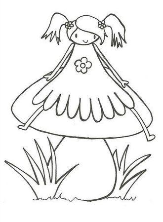 Freebie: Girl on a Mushroom Digi
