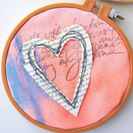 Project: Stamped Fabric Hoop Art