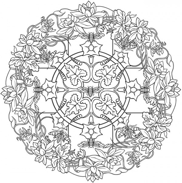 Freebie: Bee and Floral Mandala Coloring Page