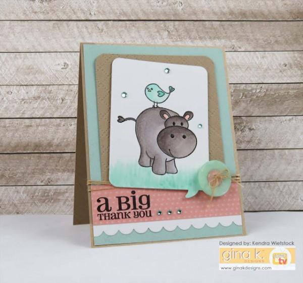 Project: Hippo Birdie Birthday Card