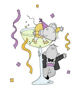 Freebie: New Years Mice Digi Stamp