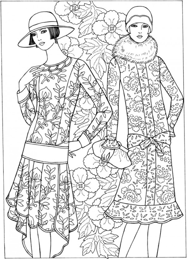 Freebie: 20's Fashion Coloring Page