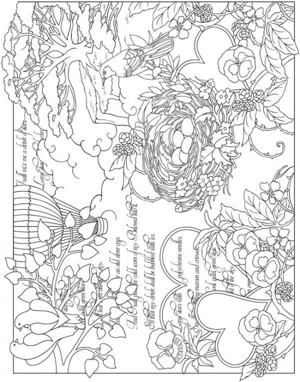 Freebie: Bird Collage Coloring Page