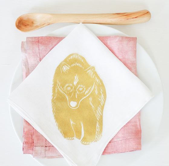 Project: Block Printed Napkins with Carved Stamps