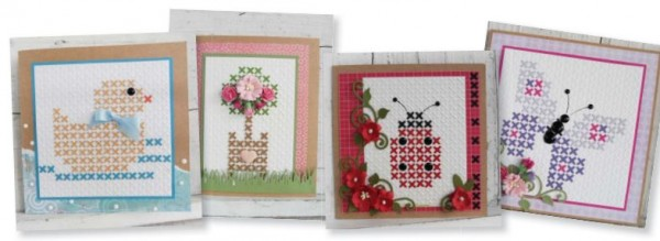 Freebie: Cross Stitched Card Patterns