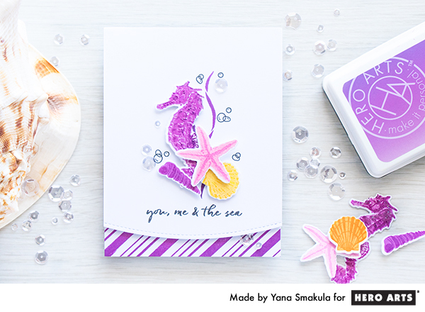 Tip and Project: How to Lighten Ink Pad Colors (Seahorse Card)