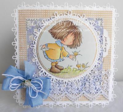 Freebie: Girl Picking Flowers Digital Stamp
